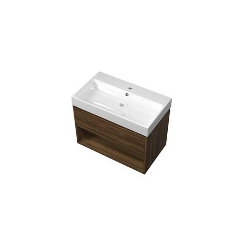 Bewonen Loft badmeubel met open vak met polystone wastafel met 1 kraangat - Cabana oak/Glans wit - 80x46cm (bxd)