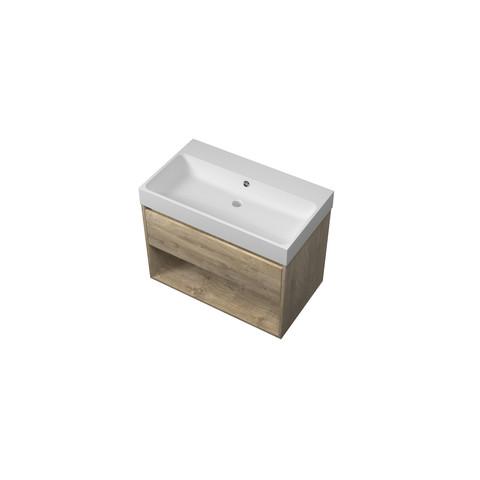 Bewonen Loft badmeubel met open vak met polystone wastafel zonder kraangat - Raw oak/Mat wit - 80x46cm (bxd)