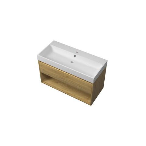 Bewonen Loft badmeubel met open vak met polystone wastafel met 1 kraangat - Ideal oak/Mat wit - 100x46cm (bxd)