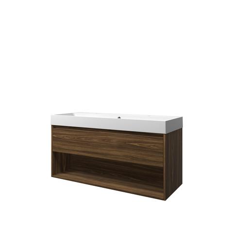 Bewonen Loft badmeubel met open vak met polystone wastafel met 2 kraangaten - Cabana oak/Mat wit - 120x46cm (bxd)
