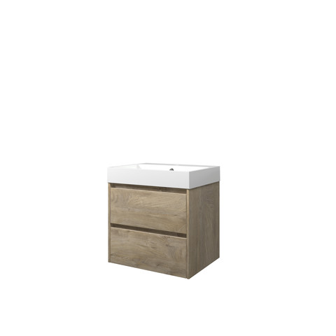 Bewonen Loft badmeubel met polystone wastafel met 1 kraangat en onderkast symmetrisch - Raw oak/Glans wit - 60x46cm (bxd)
