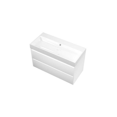 Bewonen Loft badmeubel met polystone wastafel zonder kraangat en onderkast symmetrisch - Mat wit/Glans wit - 100x46cm (bxd)