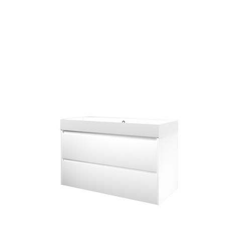 Bewonen Loft badmeubel met polystone wastafel met 2 kraangaten en onderkast symmetrisch - Mat wit/Glans wit - 100x46cm (bxd)