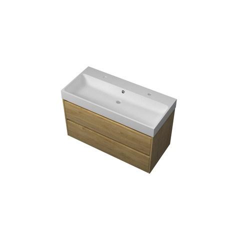 Bewonen Loft badmeubel met polystone wastafel met 2 kraangaten en onderkast symmetrisch - Ideal oak/Mat wit - 100x46cm (bxd)
