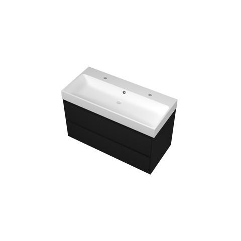 Bewonen Loft badmeubel met polystone wastafel met 2 kraangaten en onderkast symmetrisch - Mat zwart/Mat wit - 100x46cm (bxd)