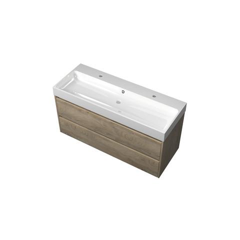 Bewonen Loft badmeubel met polystone wastafel met 2 kraangaten en onderkast symmetrisch - Raw oak/Glans wit - 120x46cm (bxd)