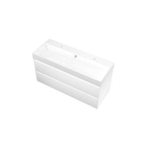 Bewonen Loft badmeubel met polystone wastafel met 2 kraangaten en onderkast symmetrisch - Mat wit/Glans wit - 120x46cm (bxd)