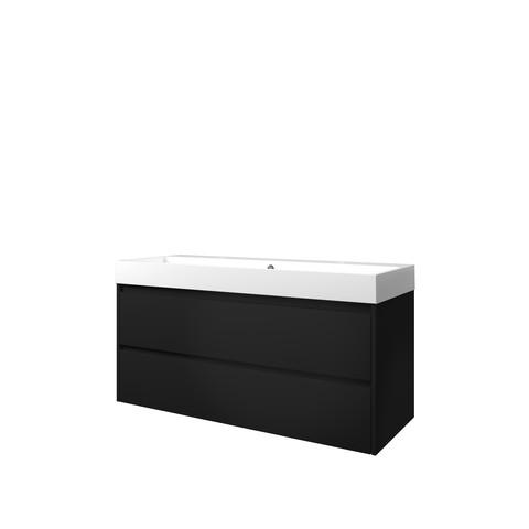 Bewonen Loft badmeubel met polystone wastafel met 2 kraangaten en onderkast symmetrisch - Mat zwart/Glans wit - 120x46cm (bxd)