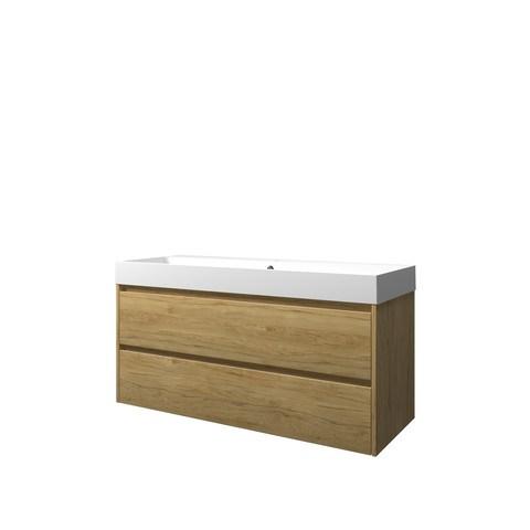 Bewonen Loft badmeubel met polystone wastafel met 1 kraangat en onderkast symmetrisch - Ideal oak/Mat wit - 120x46cm (bxd)