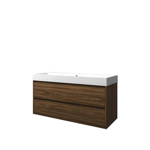 Proline Loft badmeubel met polystone wastafel met 2 kraangaten en onderkast symmetrisch - Cabana oak/Mat wit - 120x46cm (bxd)