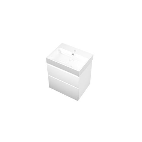 Proline Loft badmeubel met polystone wastafel met 1 kraangat en onderkast a-symmetrisch - Mat wit/Glans wit - 60x46cm (bxd)