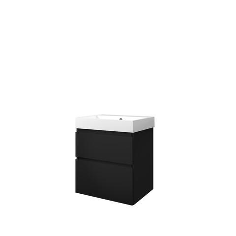 Bewonen Loft badmeubel met polystone wastafel met 1 kraangat en onderkast a-symmetrisch - Mat zwart/Glans wit - 60x46cm (bxd)