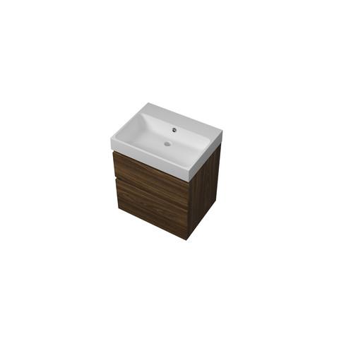 Proline Loft badmeubel met polystone wastafel zonder kraangat en onderkast a-symmetrisch - Cabana oak/Mat wit - 60x46cm (bxd)