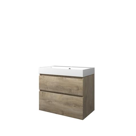 Proline Loft badmeubel met polystone wastafel met 1 kraangat en onderkast a-symmetrisch - Raw oak/Glans wit - 80x46cm (bxd)