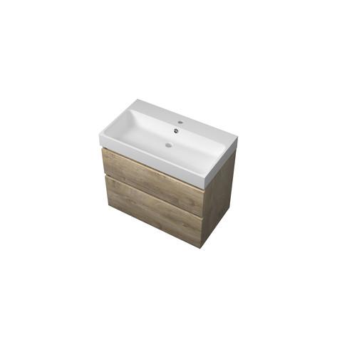 Bewonen Loft badmeubel met polystone wastafel met 1 kraangat en onderkast a-symmetrisch - Raw oak/Mat wit - 80x46cm (bxd)