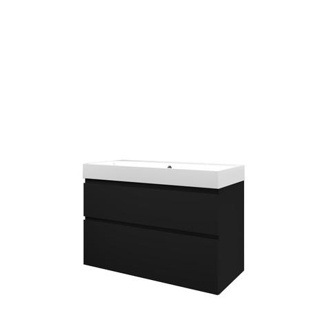 Proline Loft badmeubel met polystone wastafel met 2 kraangaten en onderkast a-symmetrisch - Mat zwart/Glans wit - 100x46cm (bxd)