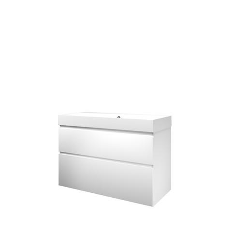 Bewonen Loft badmeubel met polystone wastafel met 1 kraangat en onderkast a-symmetrisch - Mat wit/ Mat wit - 100x46cm (bxd)