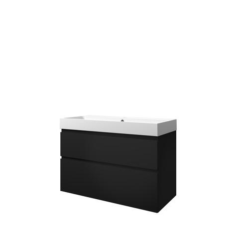 Bewonen Loft badmeubel met polystone wastafel met 1 kraangat en onderkast a-symmetrisch - Mat zwart/Mat wit - 100x46cm (bxd)