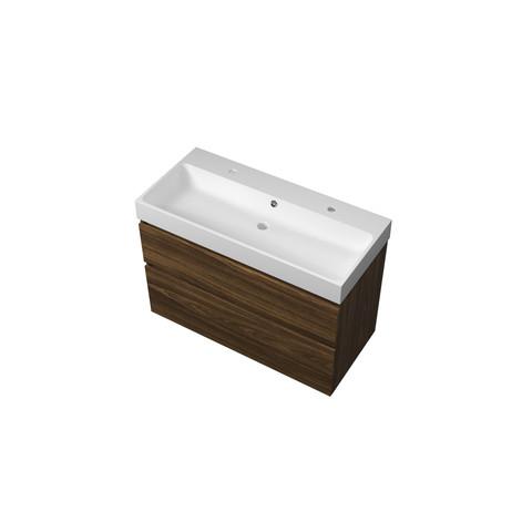 Proline  Loft badmeubel met polystone wastafel met 2 kraangaten en onderkast a-symmetrisch - Cabana oak/Mat wit - 100x46cm (bxd)