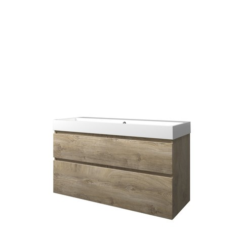 Bewonen Loft badmeubel met polystone wastafel zonder kraangat en onderkast a-symmetrisch - Raw oak/Glans wit - 120x46cm (bxd)