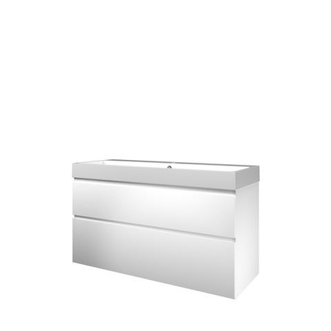 Proline Loft badmeubel met polystone wastafel met 1 kraangat en onderkast a-symmetrisch - Mat wit/Glans wit - 120x46cm (bxd)