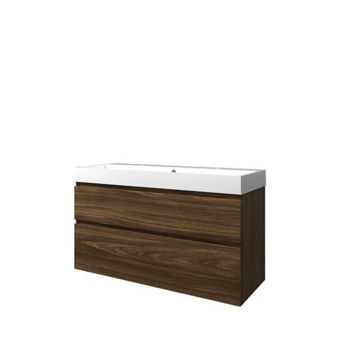 Bewonen Loft badmeubel met polystone wastafel met 2 kraangaten en onderkast a-symmetrisch - Cabana oak/Glans wit - 120x46cm (bxd)