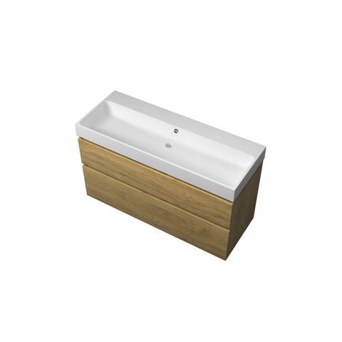 Bewonen Loft badmeubel met polystone wastafel zonder kraangat en onderkast a-symmetrisch - Ideal oak/Mat wit - 120x46cm (bxd)