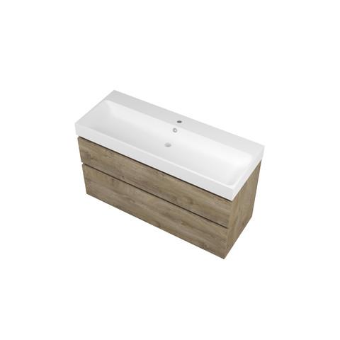 Bewonen Loft badmeubel met polystone wastafel met 1 kraangat en onderkast a-symmetrisch - Raw oak/Mat wit - 120x46cm (bxd)