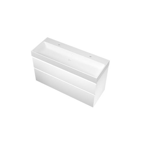Bewonen Loft badmeubel met polystone wastafel met 2 kraangaten en onderkast a-symmetrisch - Mat wit/ Mat wit - 120x46cm (bxd)