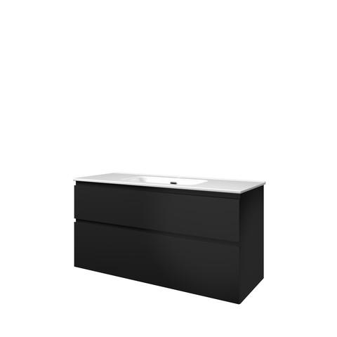 Bewonen Elegant badmeubel met keramische wastafel enkel met 1 kraangat en onderkast a-symmetrisch - Mat zwart - 120x46cm (bxd)
