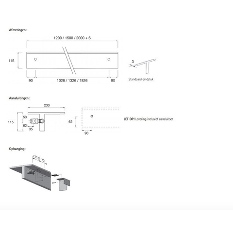 Instamat Serie T T1M designradiator horizontaal 11,5 x 120 x 23 cm (H x L x D) wit