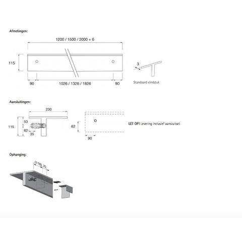 Instamat Serie T T1M designradiator horizontaal 11,5 x 200 x 23 cm (H x L x D) wit