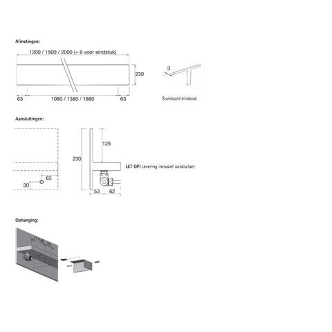 Instamat Serie T T1P designradiator horizontaal 23 x 200 x 11,5 cm (H x L x D)