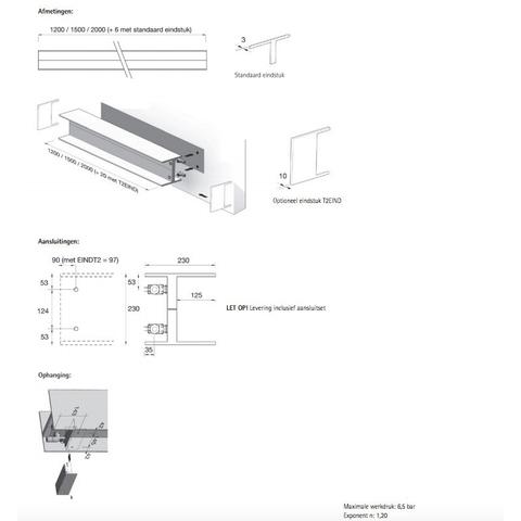 Instamat Serie T T2H designradiator horizontaal 23 x 150 x 11,5 cm (H x L x D)
