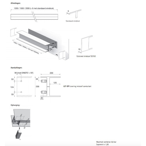 Instamat Serie T T2H designradiator horizontaal 23 x 200 x 11,5 cm (H x L x D)