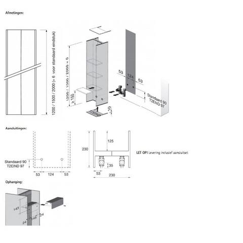 Instamat Serie T T2V designradiator verticaal 150 x 23 x 23 cm (H x L x D)