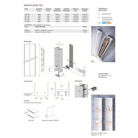 Instamat Serie T T2V designradiator verticaal 200 x 23 x 23 cm (H x L x D)