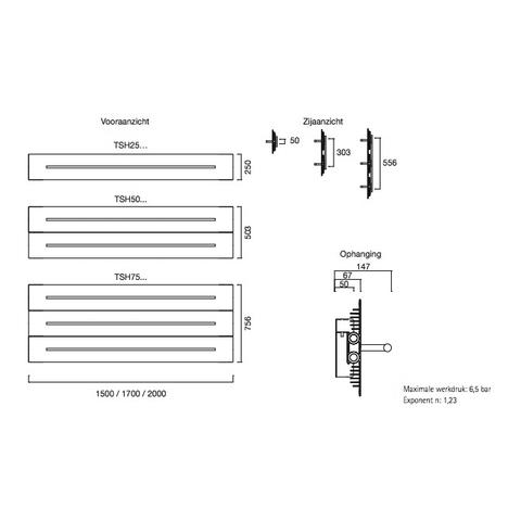 Instamat Teso H designradiator horizontaal 50,3 x 170 cm (H x L) wit