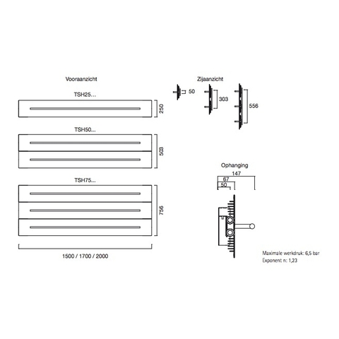 Instamat Teso H designradiator horizontaal 75,6 x 170 cm (H x L) wit