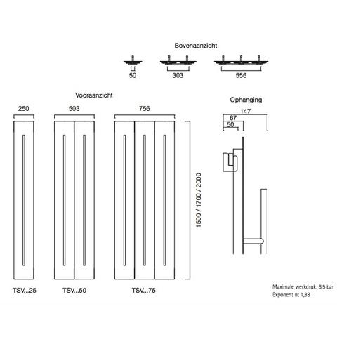 Instamat Teso V designradiator verticaal 150 x 50,3 cm (H x L) wit