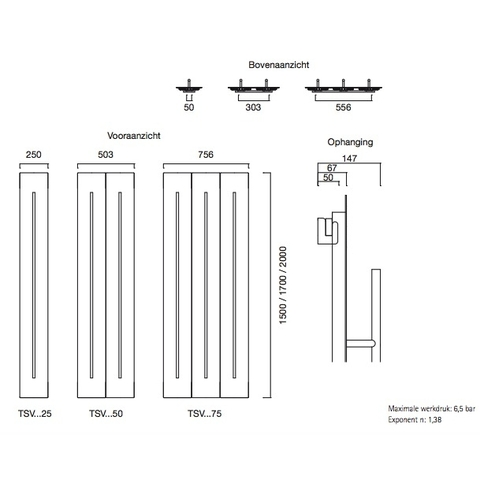 Instamat Teso V designradiator verticaal 200 x 75,6 cm (H x L) wit