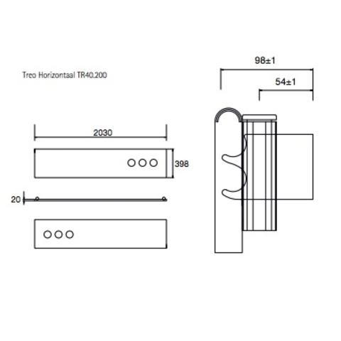 Instamat Treo designradiator horizontaal 39.8 x 203 cm (H x L) wit