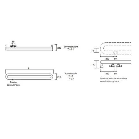 Instamat Tubone H designradiator horizontaal 21 x 150 cm (H x L) dubbele buis wit