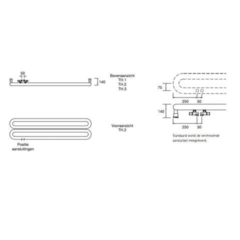 Instamat Tubone H designradiator horizontaal 44 x 150 cm (H x L) enkele buis wit