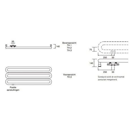 Instamat Tubone H designradiator horizontaal 67 x 150 cm (H x L) enkele buis wit
