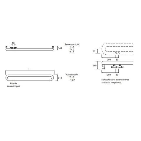 Instamat Tubone H designradiator horizontaal 21 x 170 cm (H x L) enkele buis wit