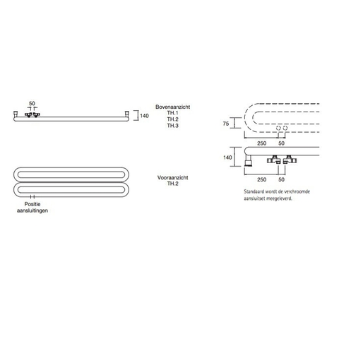 Instamat Tubone H designradiator horizontaal 44 x 170 cm (H x L) enkele buis wit