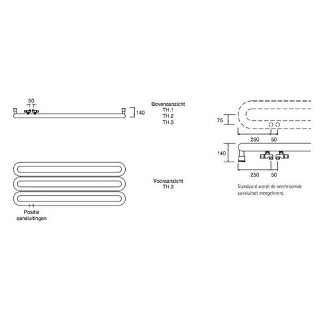 Instamat Tubone H designradiator horizontaal 67 x 170 cm (H x L) enkele buis wit