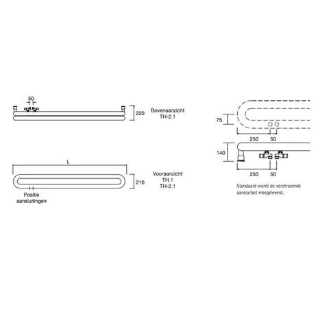 Instamat Tubone H designradiator horizontaal 21 x 200 cm (H x L) dubbele buis wit