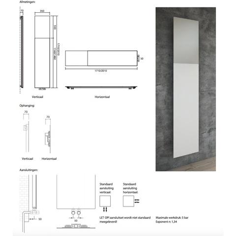 Instamat Volata M designradiator verticaal 171 x 35 cm (H x L) wit